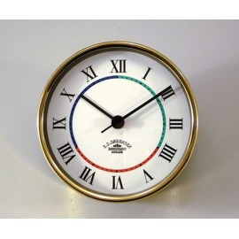 Ship's Clock/ Quartz,Mini - 90mm / Brass, Roman figures with 3-coloured deco line