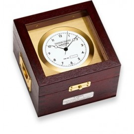 Wempe marine quartz chronometer brass/mahogany model 10057