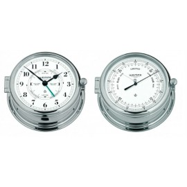 ADMIRAL II messing  chrome plated Tide / Getijden klok en barometer set